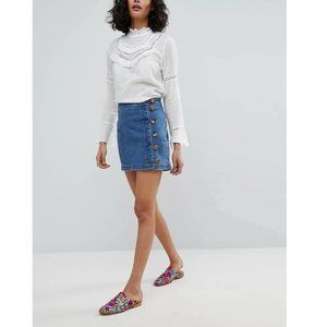 Free People Little Daisies Denim Jean Mini Skirt 0